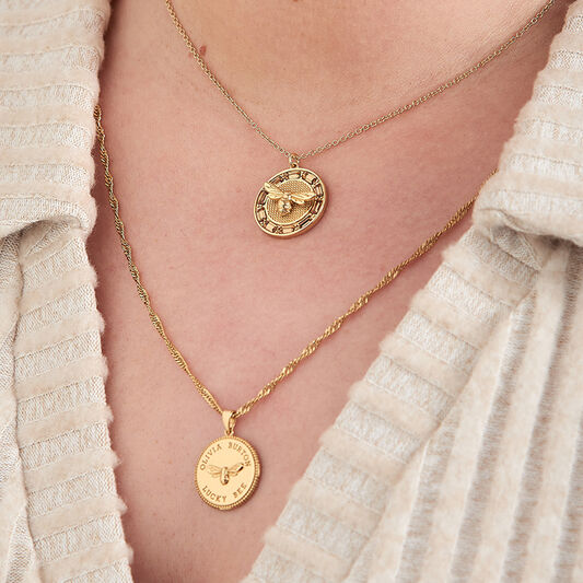 Lucky Bee Stone Set Gold Pendant Necklace