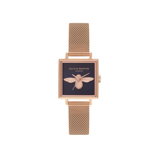 Square Dial 3D Bee Midnight & Rose Gold Mesh Watch