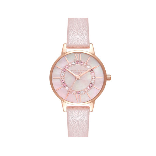 Wonderland Pearl Pink, Rose Gold Watch & Classics Interlink Bracelet Gift Set