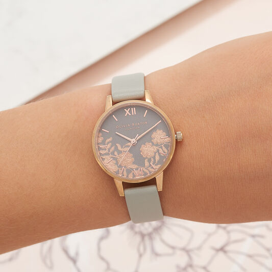 Lace Detail Grey & Rose Gold Watch