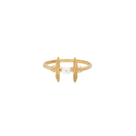 Pearl Bee Ring Gold L