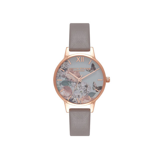 Midi Signature Floral London Grey & Rose Gold Watch