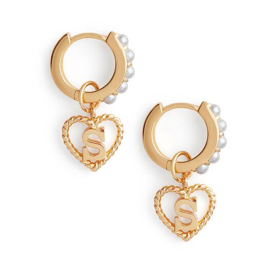 'S' Faux Pearl Heart Initial Huggie Hoop Gold