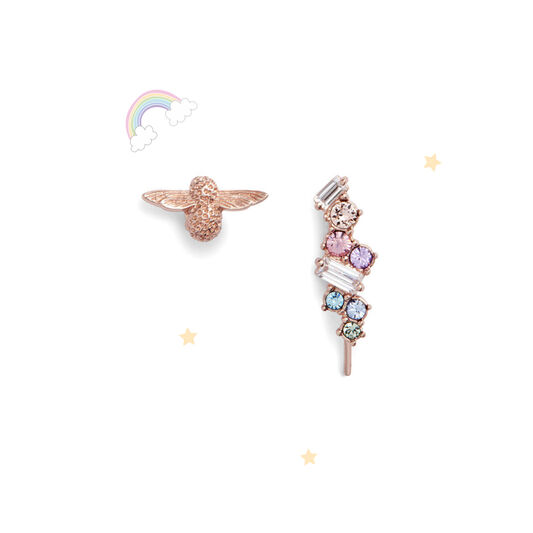 Rainbow Bee Crawler & Stud Rose Gold