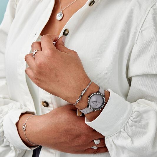 Bubble Case Midi Dial Lilac Glitter Strap & Gunmetal Watch