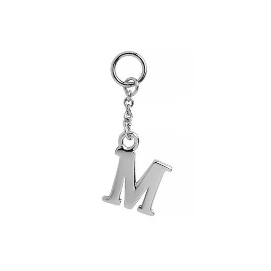 M Alphabet Huggie Charm Silver