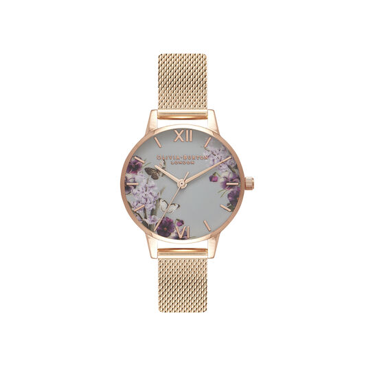 Blooms & Butterflies Grey Dial And Rose Gold Mesh