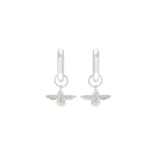 Olivia Burton 3D Bee Huggie Hoop Earrings Silver
