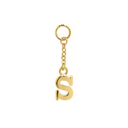 S Alphabet Huggie Charm Gold