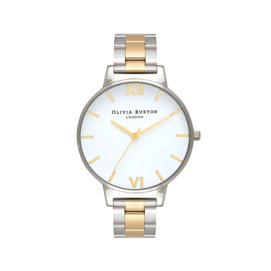 Big Dial White Dial Silver & Gold Bracelet Watch