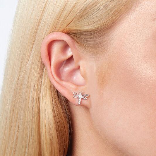 Dancing Dragonfly Stud Earrings Silver