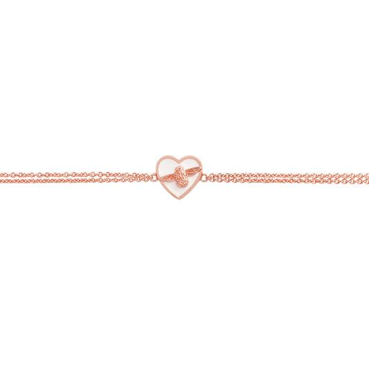 Love Bug Chain Bracelet White & Rose Gold