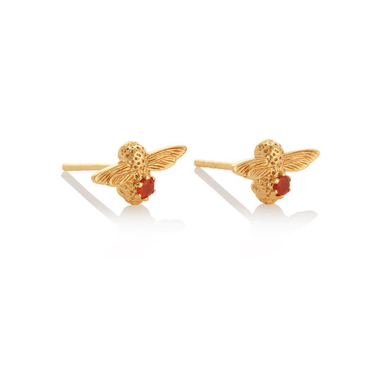 Celebration Bee Studs Gold & Red Agate