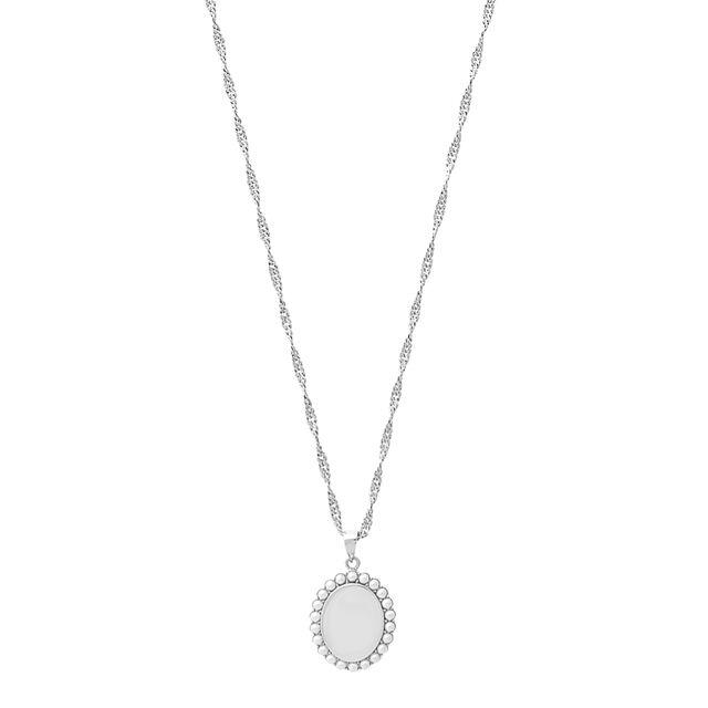 Antique Pearl Pendant Silver Necklace