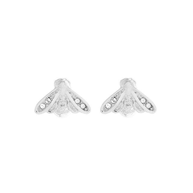 Glitter Bee Silver Stud Earrings