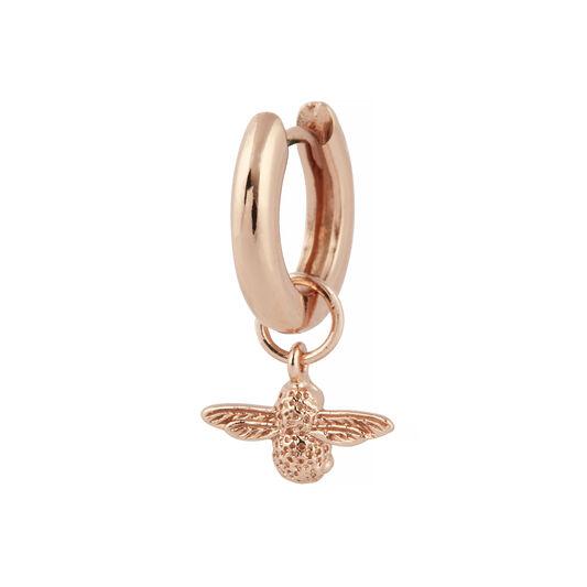 3D Bee Huggie Hoop Earrings Rose Gold