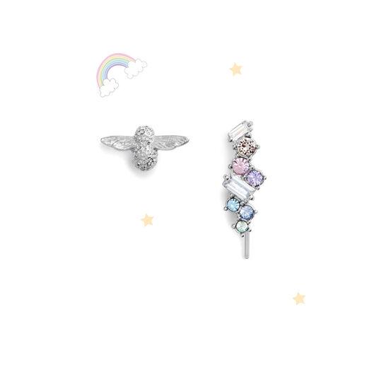 Rainbow Bee Crawler & Stud Silver