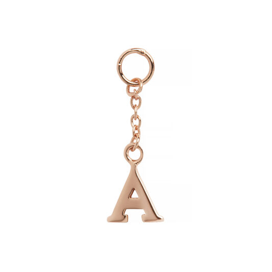 A Alphabet Huggie Charm Rose Gold