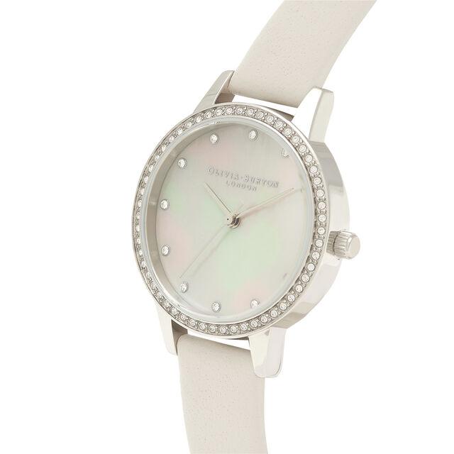 Midi Blush Mother Of Pearl Sparkle Bezel, Silver & Blush Watch