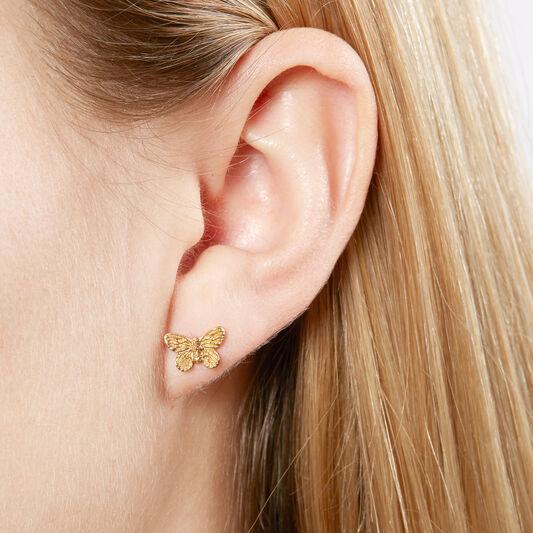 3D Butterfly Stud Earrings Gold