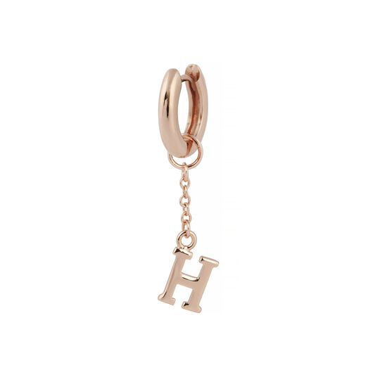 H Alphabet Huggie Charm Rose Gold