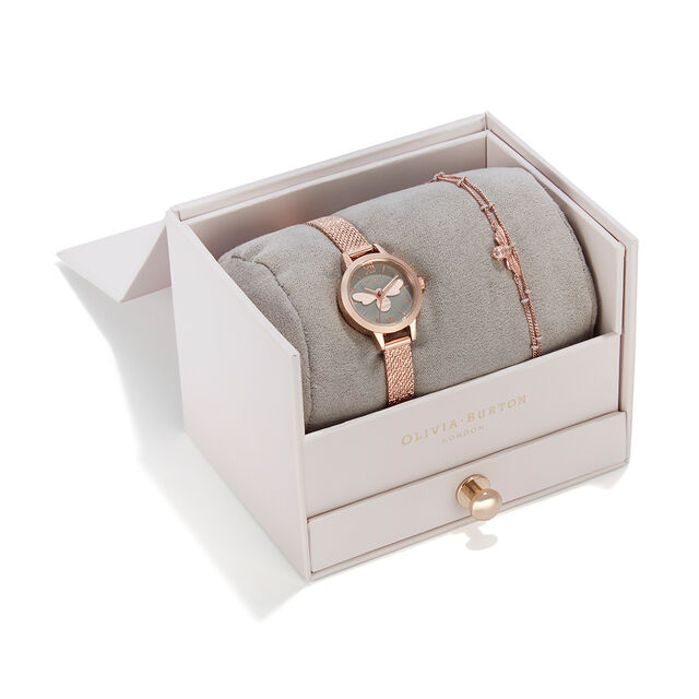 Mini Grey and Rose Gold Lucky Bee Watch & Bobble Chain Bracelet Gift Set