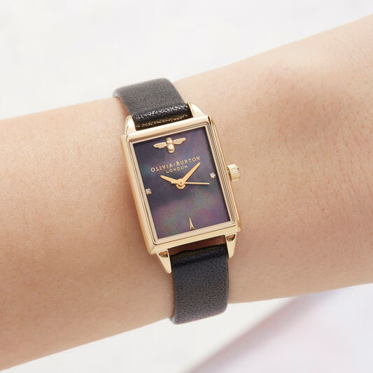 Bee Hive, Mother of Pearl, Black & Gold Watch