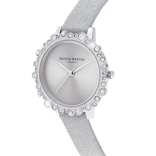Bubble Case Midi Dial gray Glitter Strap & Silver Watch