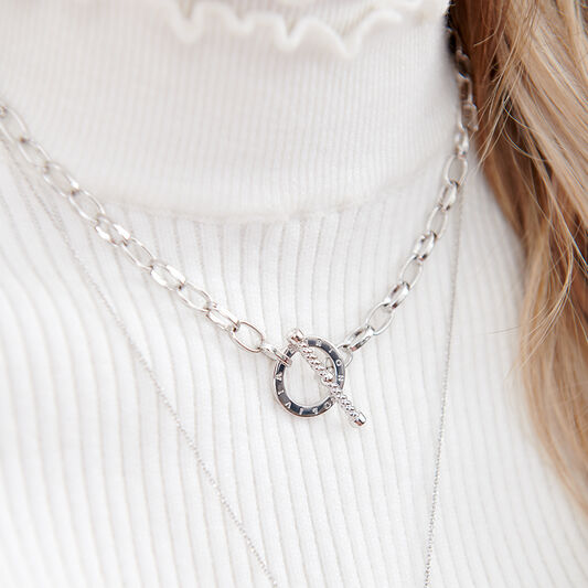 Bejewelled T-Bar Necklace Silver