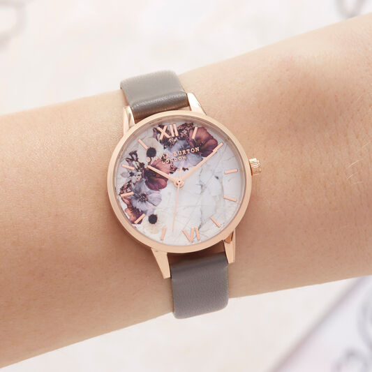 Marble Floral London gray & Rose Gold