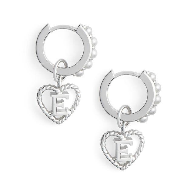 'E' Faux Pearl Heart Initial Huggie Hoop Silver