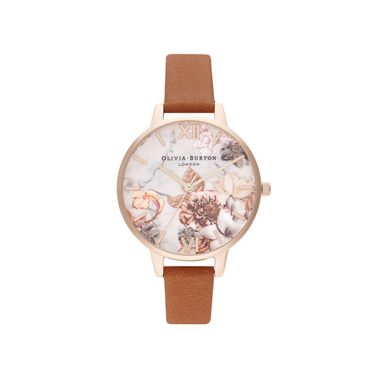 Marble Florals Honey Tan & Rose Gold