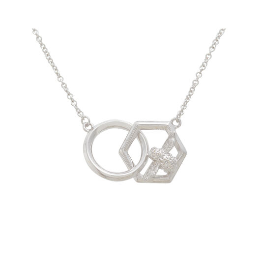 Honeycomb Bee Necklace Silver