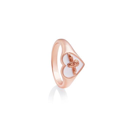 Love Bug Signet Ring White & Rose Gold S