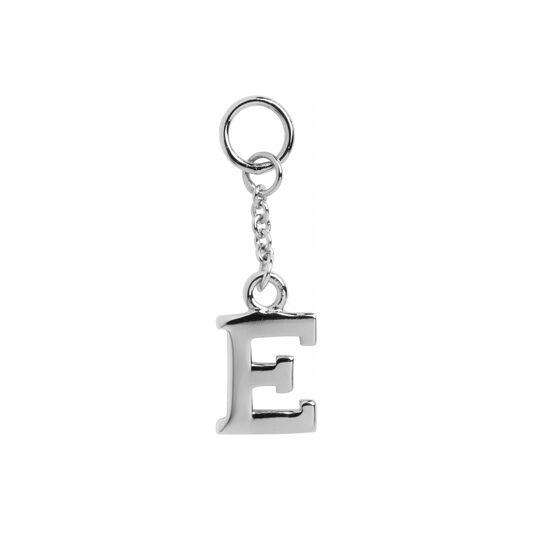 E Alphabet Huggie Charm Silver
