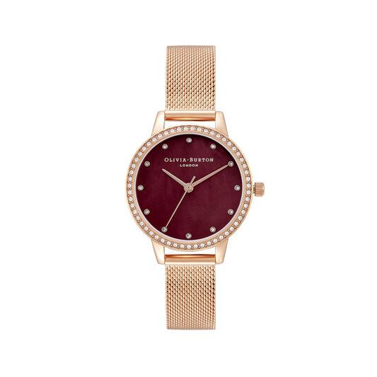 Classic Midi Dial Burgundy & Rose Gold Mesh Watch