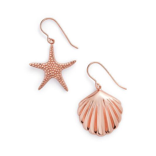 Shell & Starfish Rose Gold Sleeper Earrings