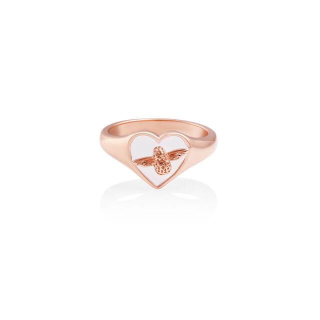 Love Bug Signet Ring White & Rose Gold L