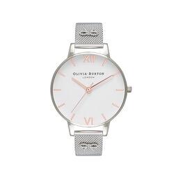Embellished Strap Mesh Watch, Rose Gold & Silver