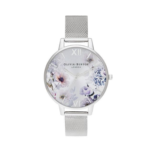 Sunlight Florals Silver Mesh Watch