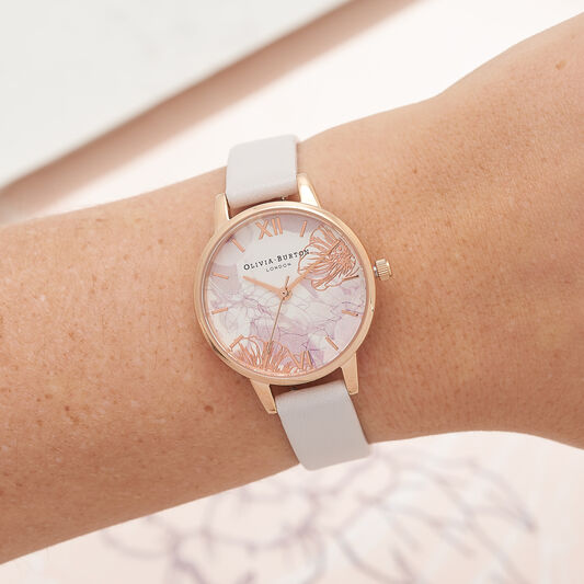 Abstract Florals Blush & Rose Gold Watch