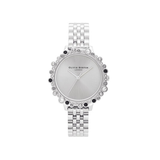 Limited Edition Bejewelled Case Watch, Silver Bracelet