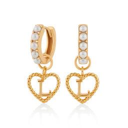 'L' Faux Pearl Heart Initial Huggie Hoop Gold