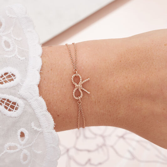 Vintage Bow Chain Bracelet Rose Gold