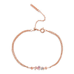 Rainbow Bee Chain Bracelet Rose Gold