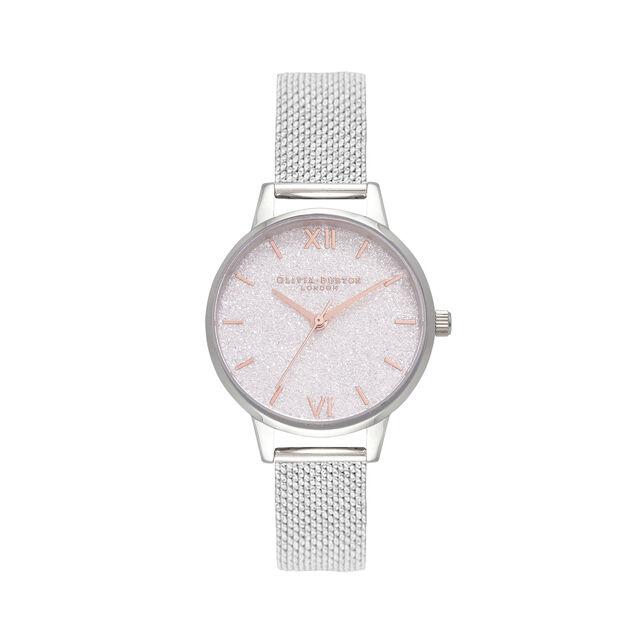 Midi White Glitter Dial Silver Mesh Watch