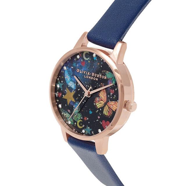 Midi Night Garden Butterflies Navy & Rose Gold Watch