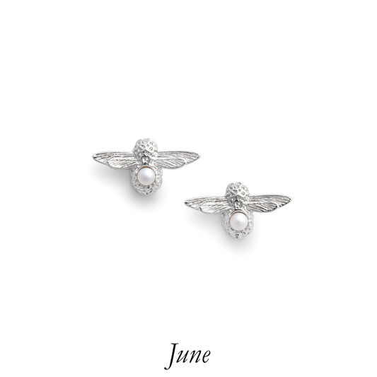 Celebration Bee Studs Silver & Pearl