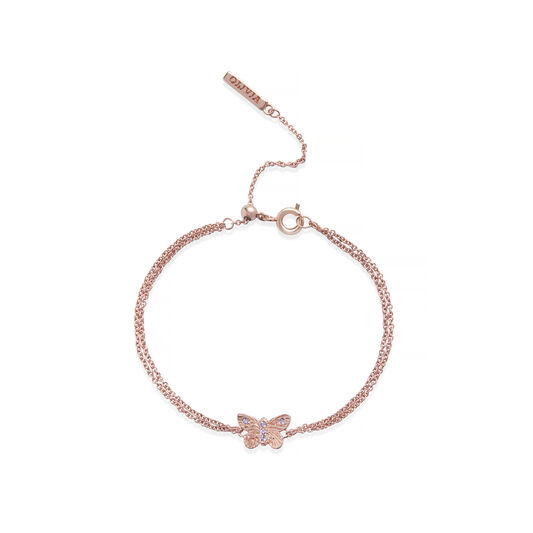Bejewelled Butterfly Chain Bracelet Rose Gold & Rose Quartz