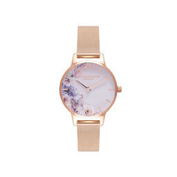 Watercolour Florals Gold Mesh Watch